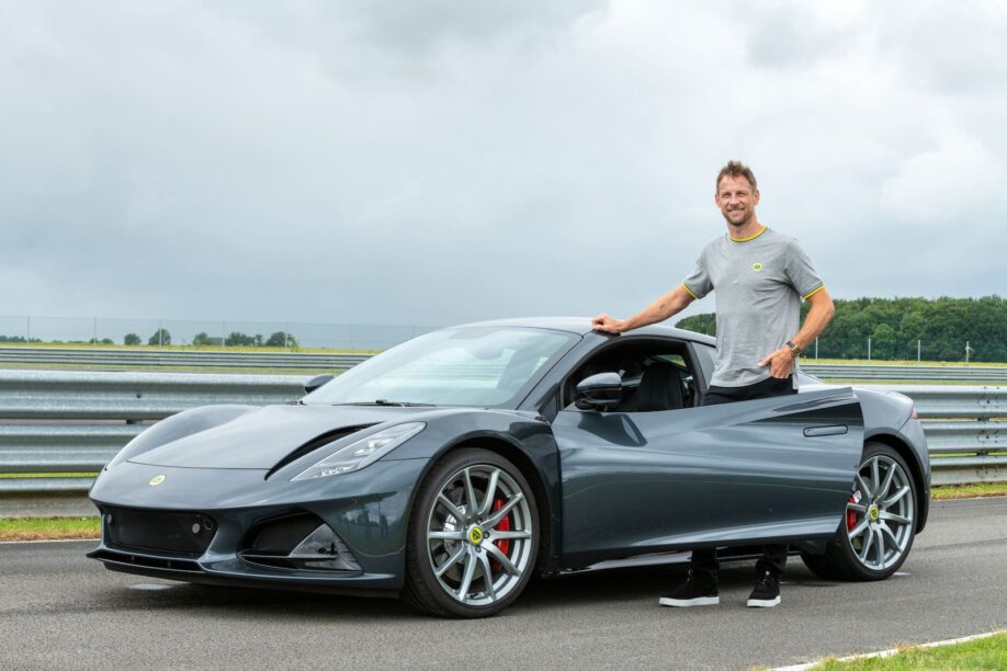 Jenson Button testing the new Lotus Emira